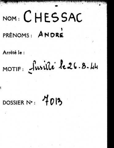 CHESSAC André